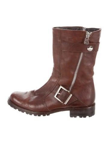 Bogner Distressed Leather Motorcycle Boots Shoes
