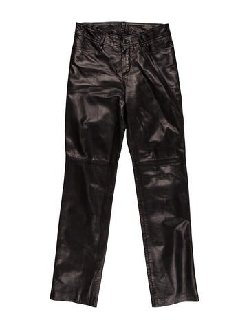Mid-Rise Leather Pants