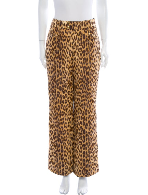 Bogner Animal Print Wide Leg Pants Brown