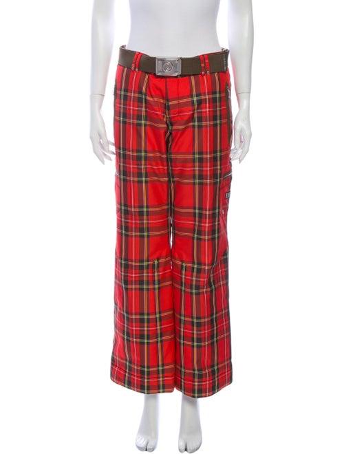 Bogner Plaid Print Wide Leg Pants Red
