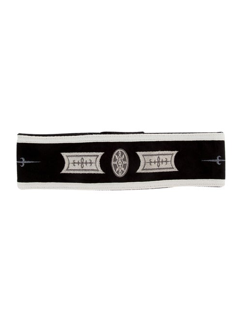Bogner Suede Embroidered Headband Black