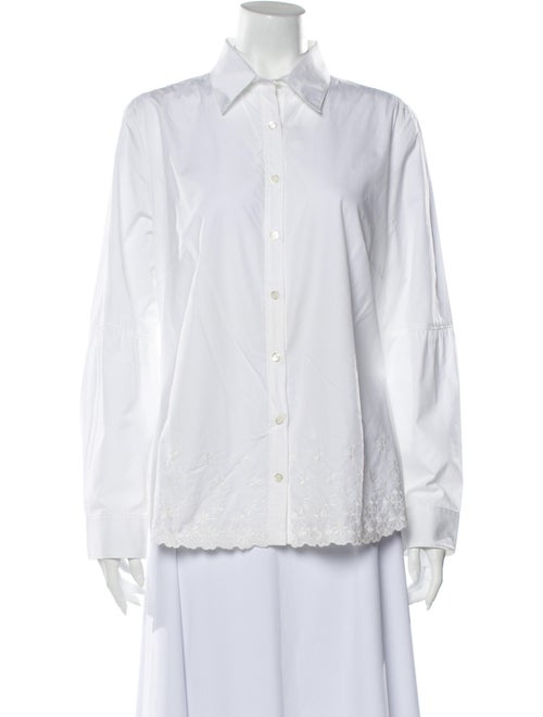 Bogner Long Sleeve Button-Up Top White