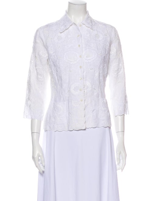 Bogner Linen Lace Pattern Button-Up Top White