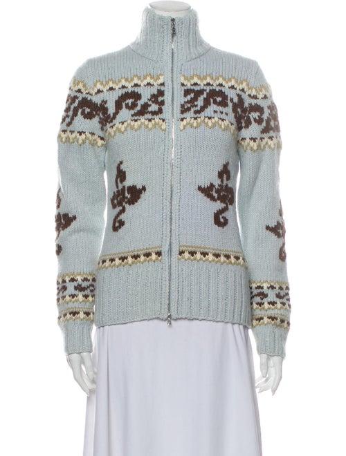 Bogner Printed Mock Neck Sweater Blue