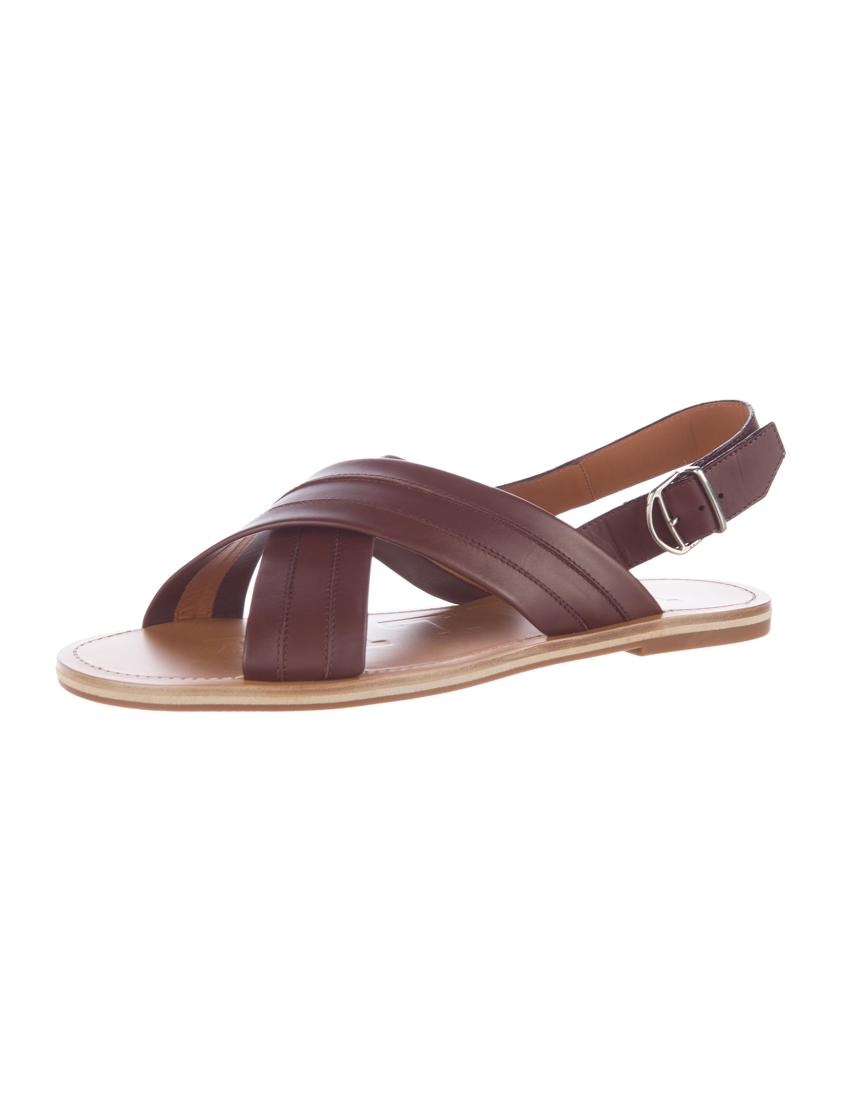 Brown Leather Dining Room Chairs Bally Leather Cross Strap Sandals Shoes Wb221556 The