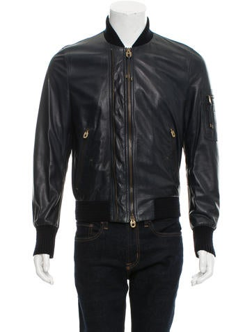 Bally Leather Rib Knit-Trimmed Jacket None