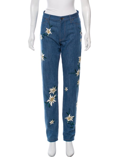 Bally Embroidered High-Rise Jeans blue