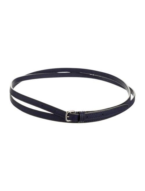 Bally Skinny Leather Belt Navy
