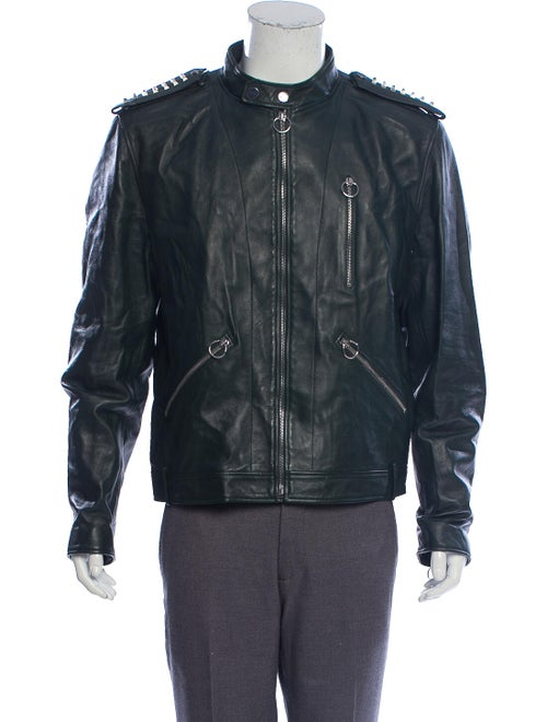 Bally Leather Moto Jacket green