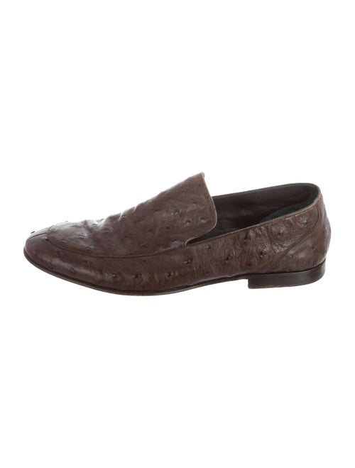 Bally Ostrich Dress Loafers brown