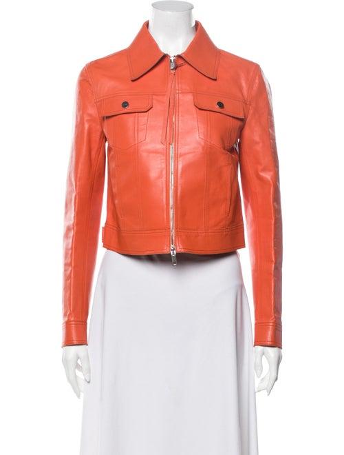 Bally Leather Biker Jacket Orange