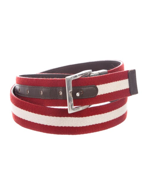 Bally Striped Buckle Belt red