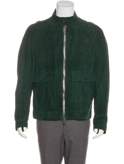 Bally Leather Zip-Up Jacket green