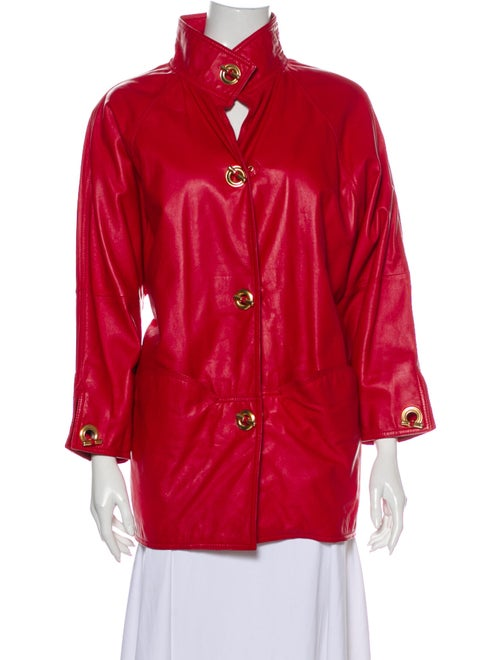 Bally Leather Trench Coat Red