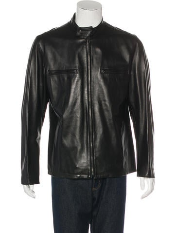 Barney's New York Leather Zip Jacket None