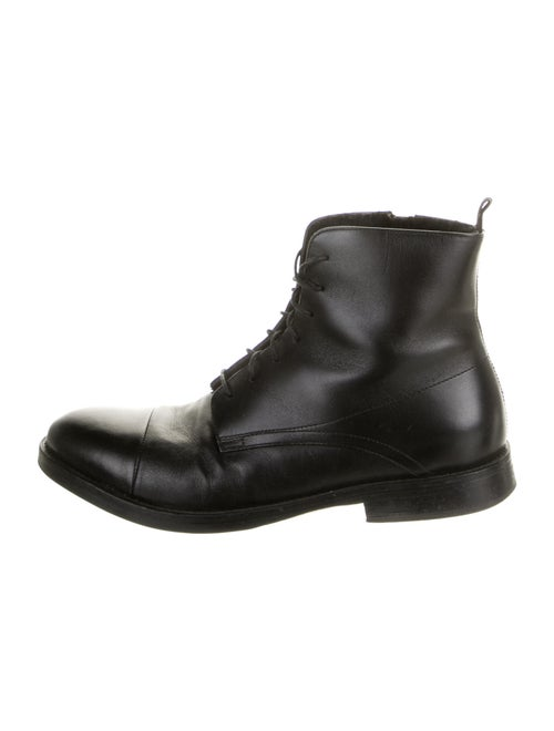 Barney's New York Leather Combat Boots Black