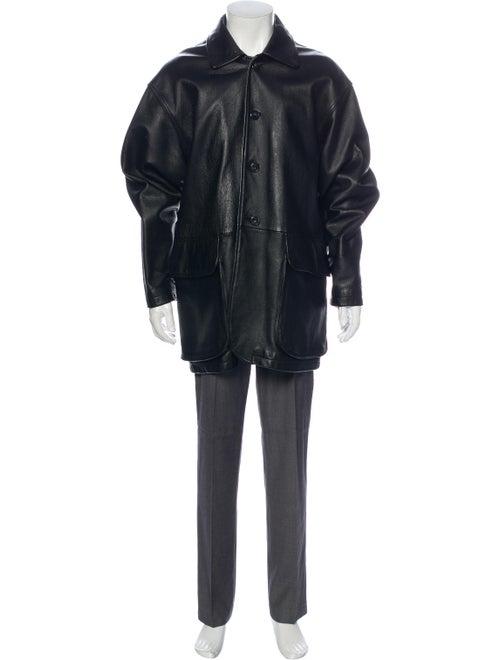 Barney's New York Leather Jacket Black