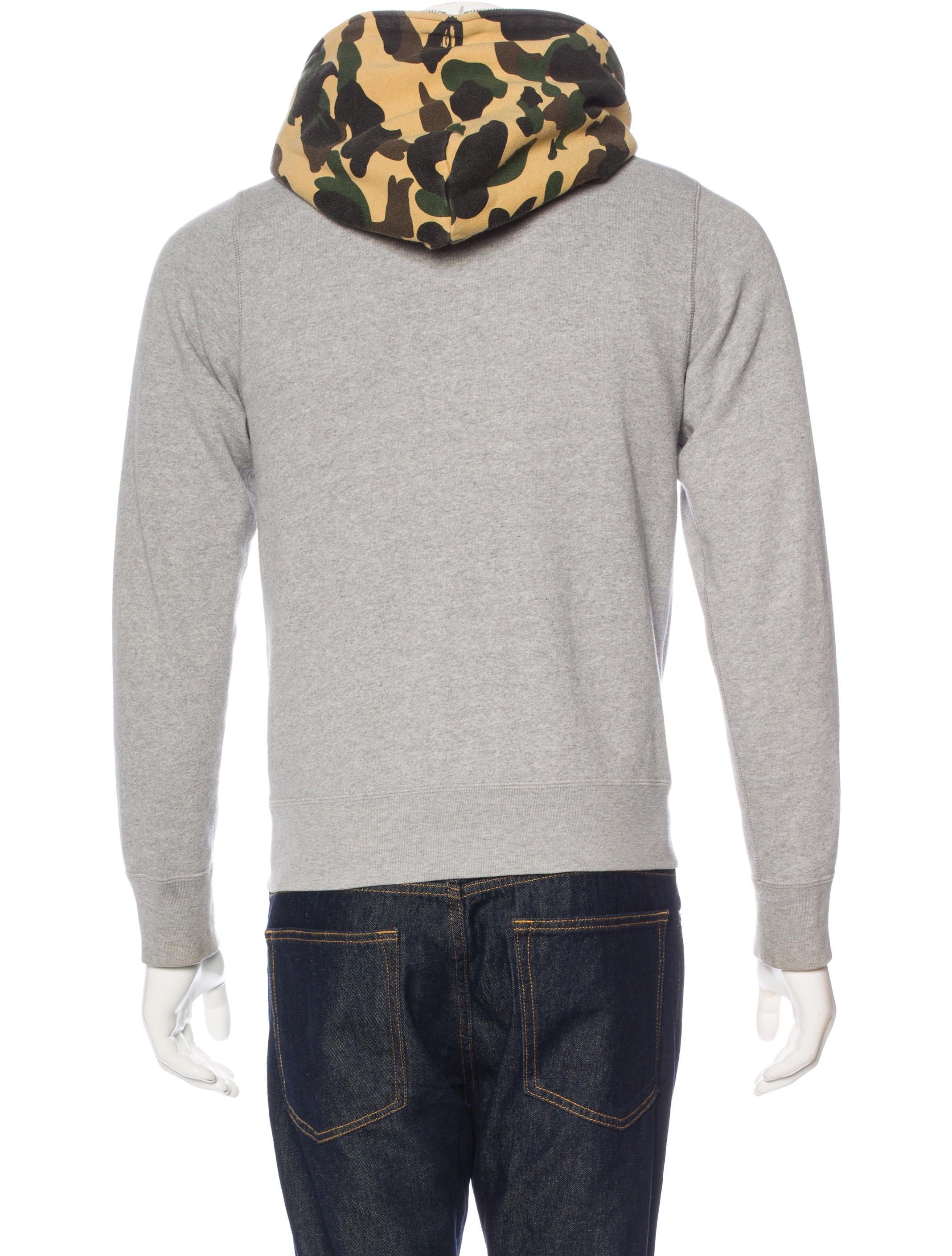 a bathing ape bape camouflagetrimmed hoodie  clothing