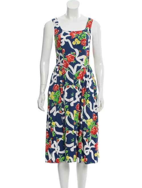 Batsheva Floral Print Midi Length Dress Blue