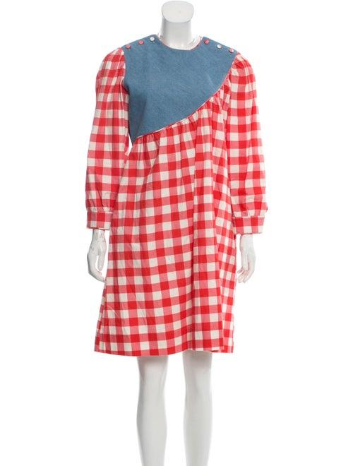 Batsheva Plaid Print Mini Dress Red