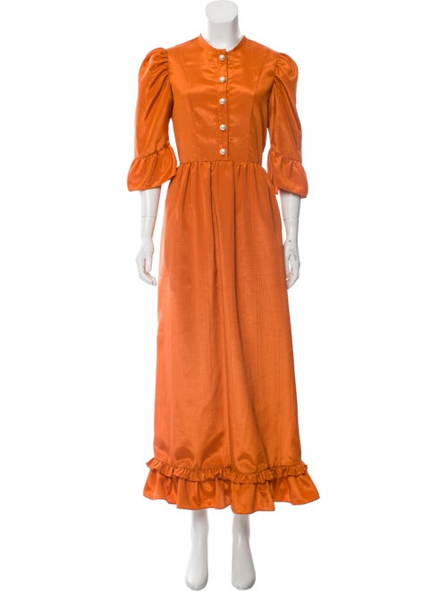 Batsheva Crew Neck Long Dress Orange