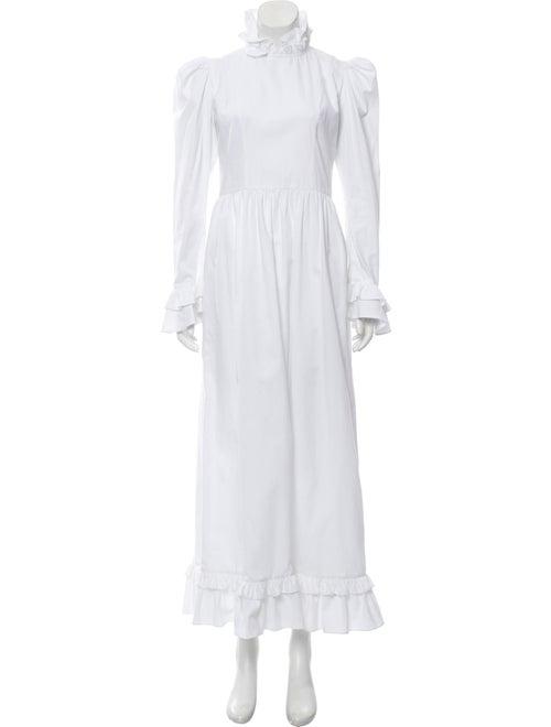 Batsheva Mock Neck Long Dress White