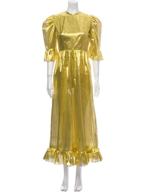 Batsheva Crew Neck Long Dress Gold