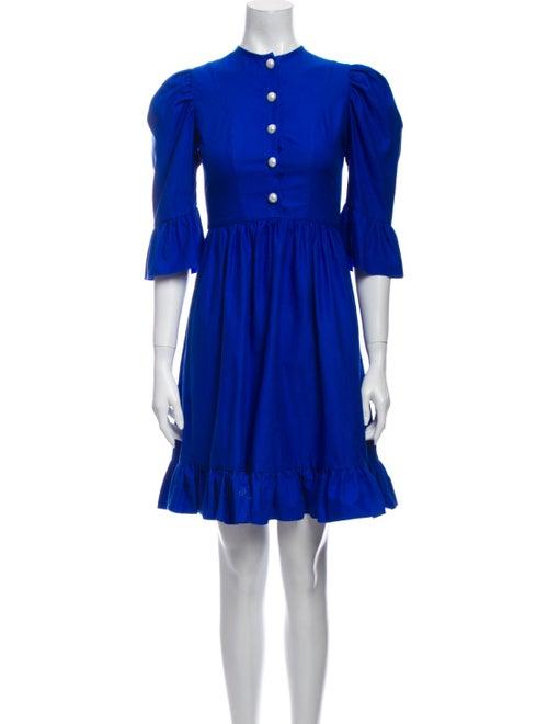 Batsheva Crew Neck Mini Dress Blue
