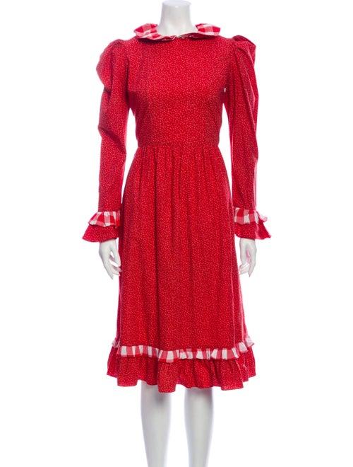 Batsheva Printed Midi Length Dress Red