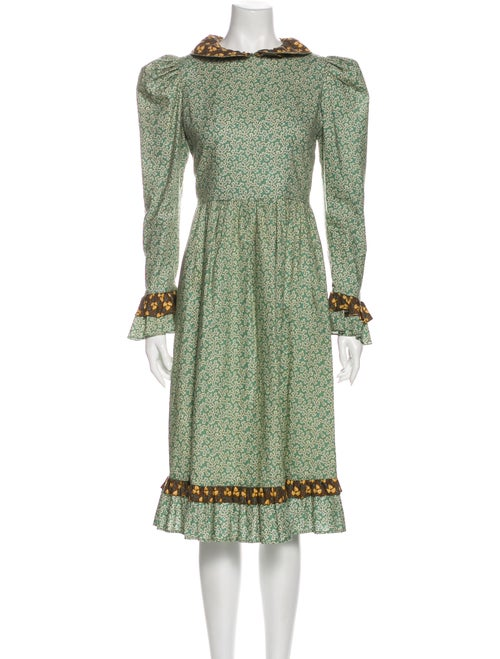 Batsheva Printed Midi Length Dress Green