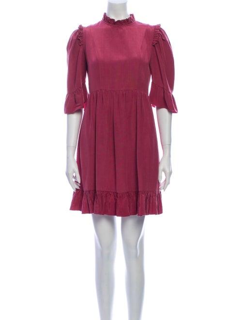 Batsheva Mock Neck Mini Dress Purple