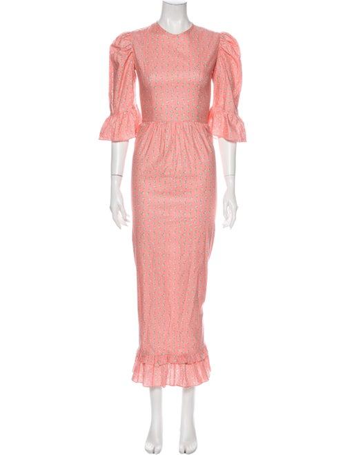 Batsheva Floral Print Long Dress Pink