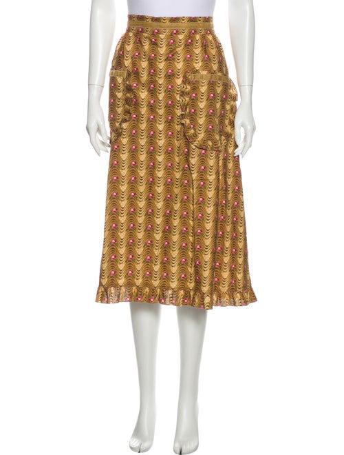 Batsheva Printed Midi Length Skirt Yellow