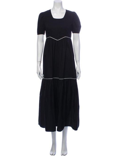 Batsheva Square Neckline Long Dress Black