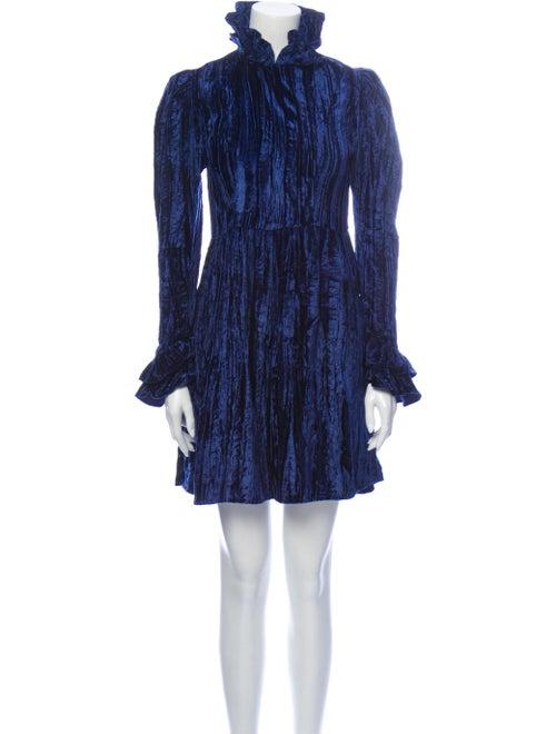Batsheva Mock Neck Mini Dress Blue