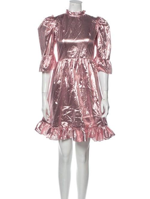 Batsheva Mock Neck Mini Dress Pink