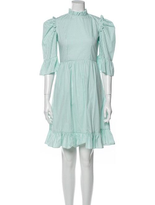 Batsheva Plaid Print Mini Dress Green