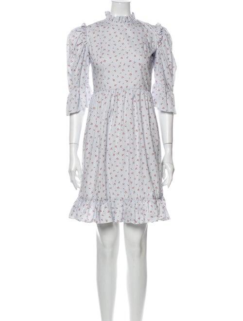 Batsheva Floral Print Mini Dress w/ Tags Blue