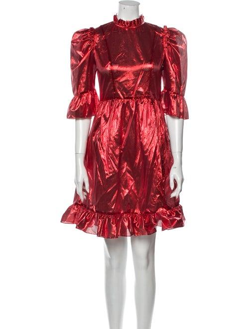 Batsheva Mock Neck Mini Dress Red