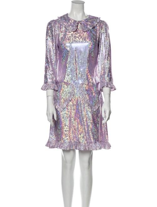 Batsheva Printed Knee-Length Dress Metallic