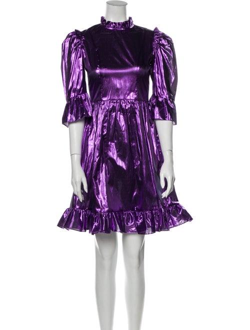 Batsheva Printed Mini Dress Metallic