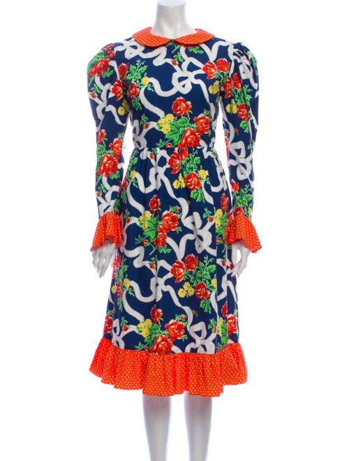 Batsheva Floral Print Midi Length Dress w/ Tags Bl
