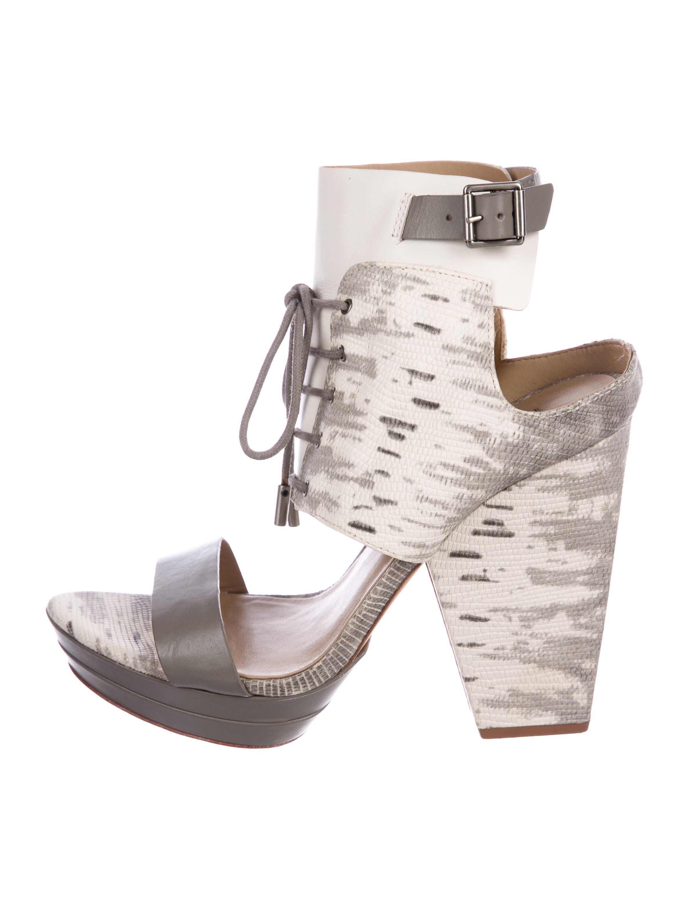 authentic online cheap sale classic BCBG Max Azria Embossed Lace-Up Sandals free shipping explore yRMu0GI