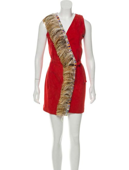 Blood & Honey Embellished Wrap Dress Red