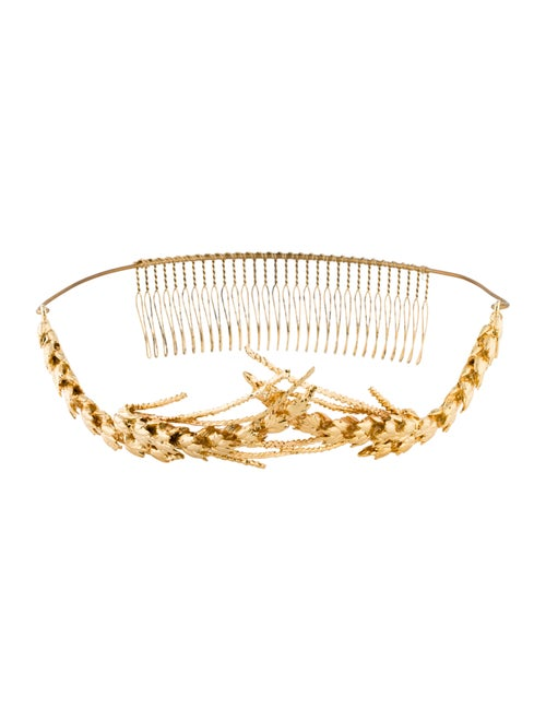 Jennifer Behr Metal Leaf Headband Gold