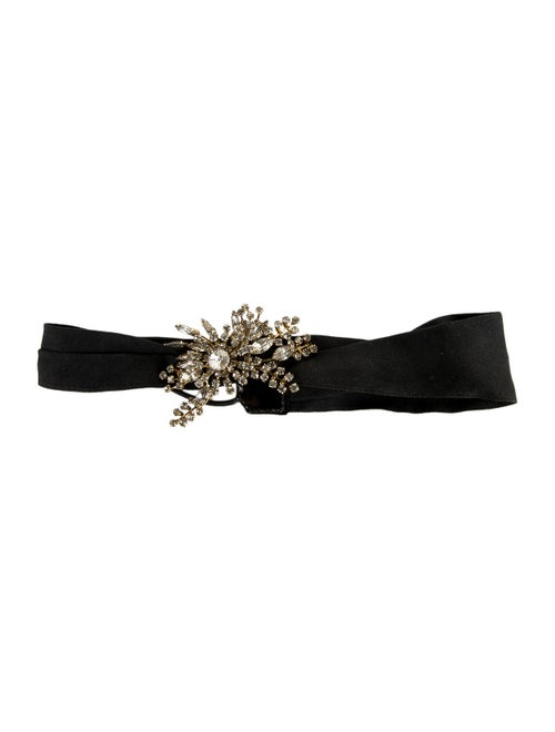 Jennifer Behr Satin Embellished Headband Black