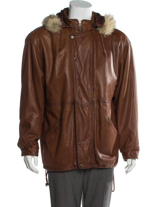 Bergdorf Goodman Fox Fur-Trimmed Hooded Leather Ja
