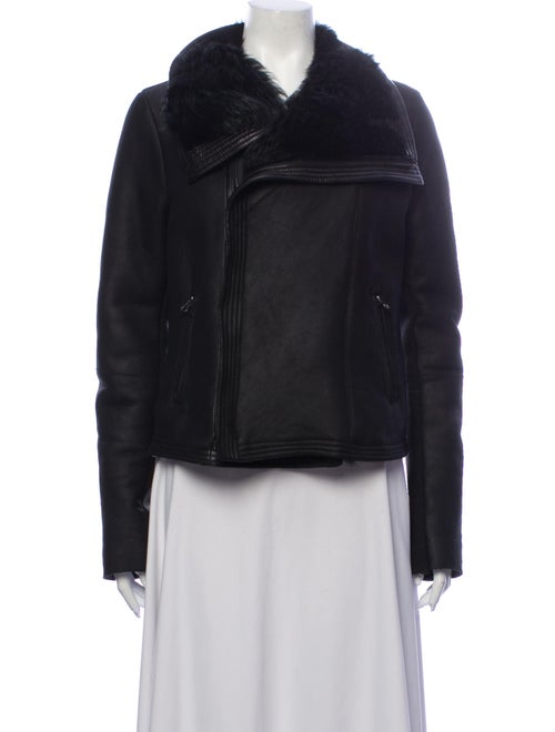 Bergdorf Goodman Shearling Biker Jacket Black