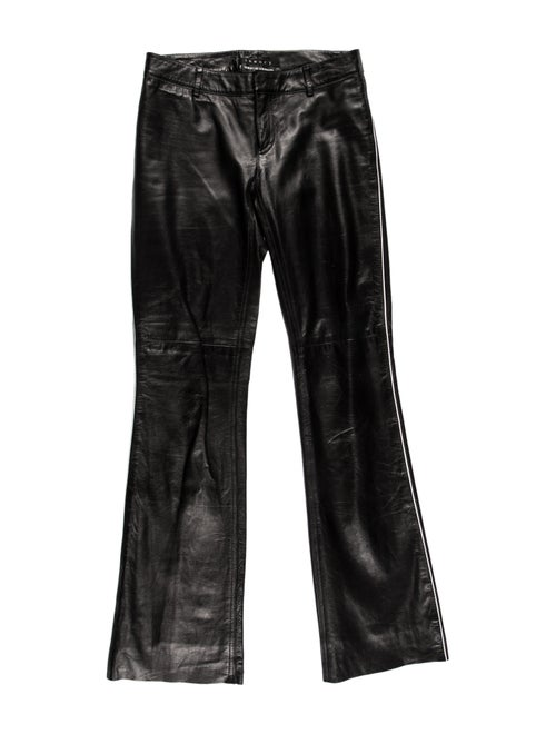 Bergdorf Goodman Leather Wide Leg Pants Black