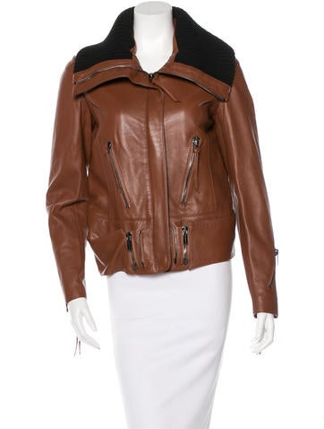 Bui by Barbara Bui Leather Zip-Up Jacket None